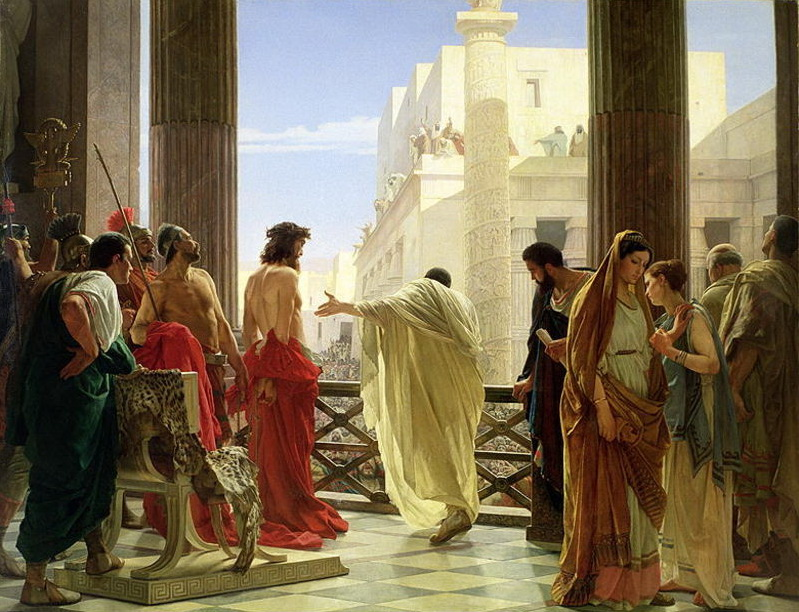 Painting of Pontius Pilate with his Prisoner by Antonio Ciseri (1760-1828)