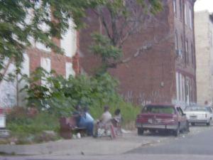 Homeless men on Corinthian Aveune in Philadelphia