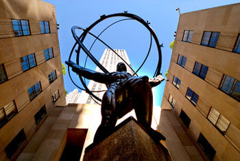Rockefeller Center Plaza with sculpture of Atlas