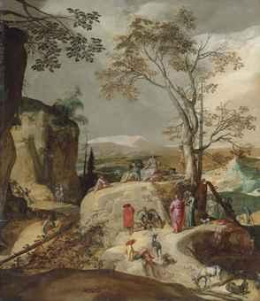 Sermon on the Mount, a Rocky Landscape Beyond - Abraham Bloemaert(Gorinchem 1566-1651 Utrecht)