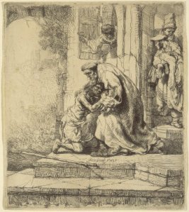 The return of the prodigal son - Rembrandt drawing