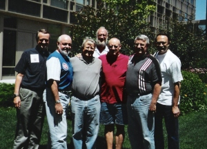 Dale Hartwig (red shirt) and the Chicago Seven Gathering, McCormick Theological Seminary, 2004.