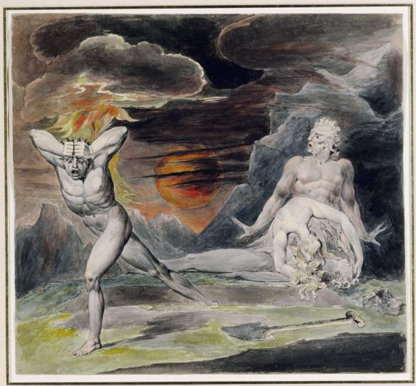 """William Blake painting of """"Cain fleeing from the wrath of God """"as Adam and Eve look on in horror following the fratricide."""