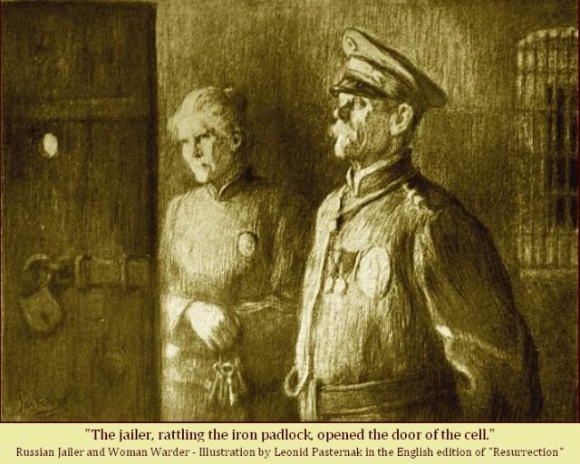 Leonid Pasternak illustration in Tolstoy's Resurrection.