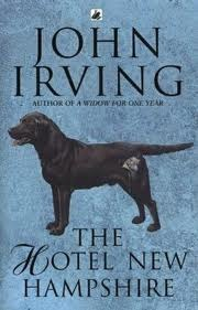 """Cover on John Irving's The Hotel New Hampshire in which """"Sorrow"""" the family dog floats to the surface after the plane crash."""