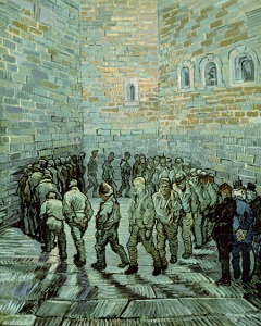 Prisoners Exercising, Vincent Van Gogh, 1890  with Van Gogh looking out and beyond.