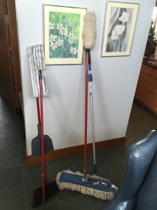 Mops waiting for guests to use at the Shoemaker residence.