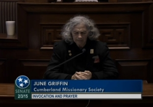 June Griffin, Cumberland Missionary Society, praying      invocation opening Tennessee Senate session, 2015.