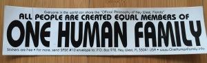 One Human Family  bumper sticker, Key West