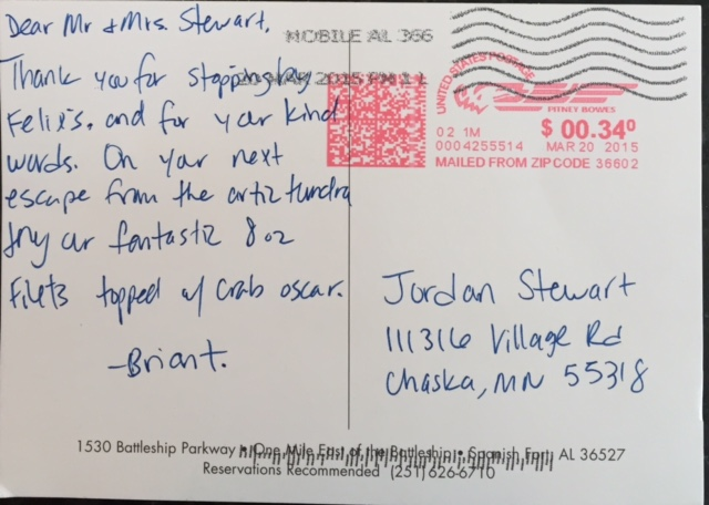 Postcard note from Briant, waiter at Felix's Fish Camp Grill in Mobile, AL