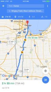 Map to Wrigley Field from Urbana, IL