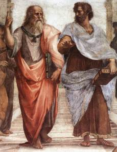 Aristotle (right) talking with Plato in The School of Athens by Raphael