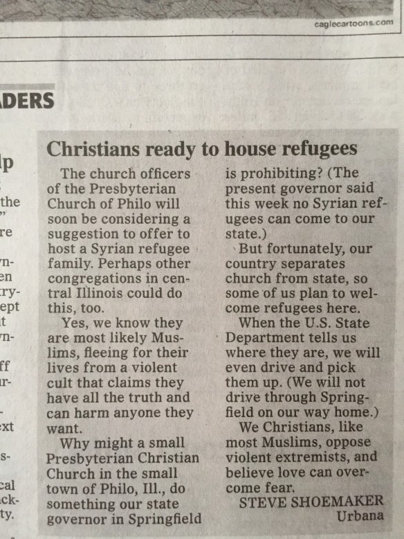News on Philo Presbyterian Church and Muslim Syrian refugees