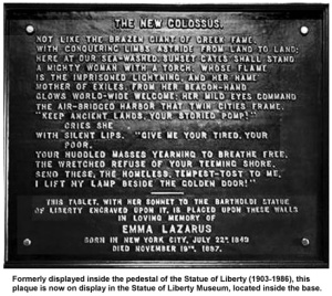 "Statue of Liberty plaque with Emma Lazarus' poem ""The Colossus"""