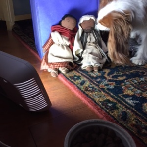 Barclay welcoming Joseph and Mary to our home.