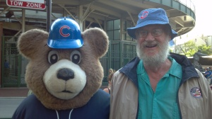 Steve with Chicago Cubs mascot.
