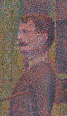 Detail from Seurat's La Parade de Cirque (1889), showing the contrasting dots of paint used in Pointillism, Metropolitan Museum of Art