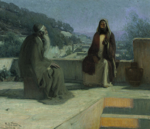 Nicodemus and Jesus on a rooftop, Tanner, Henry Ossawa, 1859-1937