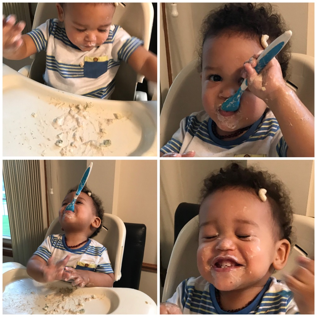 photo of grandson Elijah with the spoon he's just begun to use.