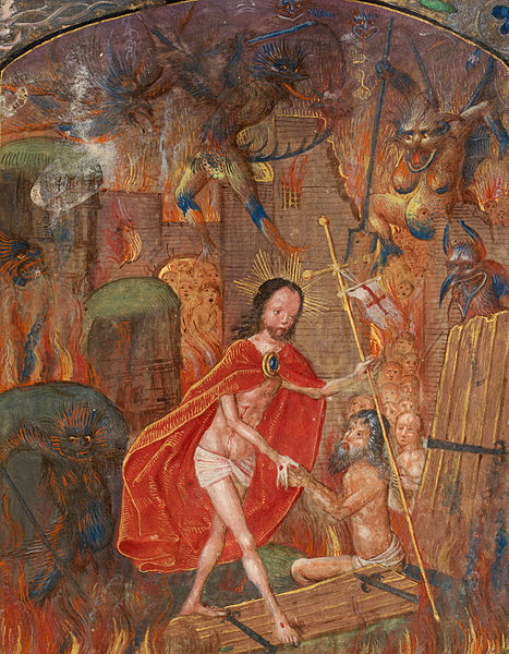 467px-harrowing_of_hell_christ_leads_adam_by_the_hand._on_scroll_in_border,_the_motto_'entre_tenir_dieu_le_viuelle'_(f._125)_cropped