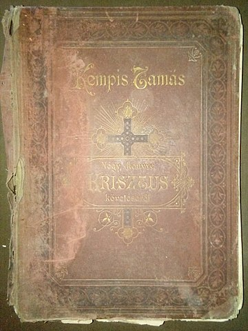 Photo of antique copy go Thomas a Kemis' Imitation of Christ.