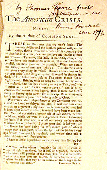 Photograph of original text of The American Crisis Number 1 by the author of COMMON SENSE, Thomas Paine.