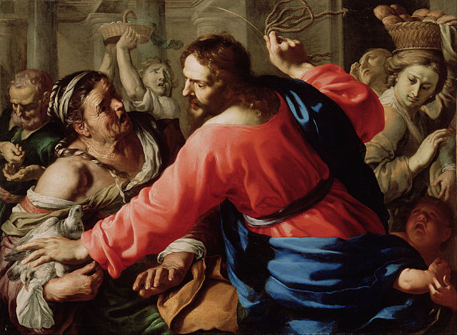Jesus cleansing the temple painting