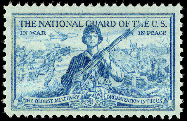 Photo of postage stamp honoring The National Guard of the U.S.