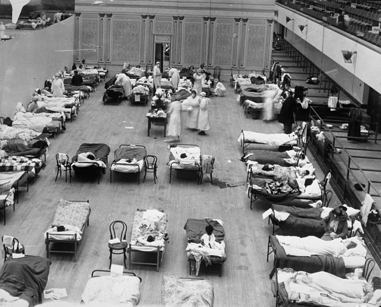 Makeshift hospital for flu patients, Oakland, CA, 1918.