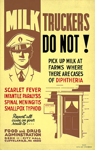 photo of Food and Drug Administration poster warning milk trucker not to pick up milk on farms with contagious diseases