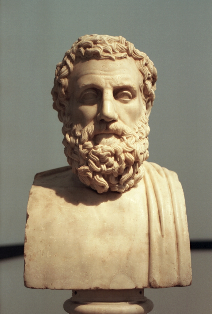 Photo of Roman bust of Aeschylus after Greek bronze hermaphroditism (340-320 BCE).